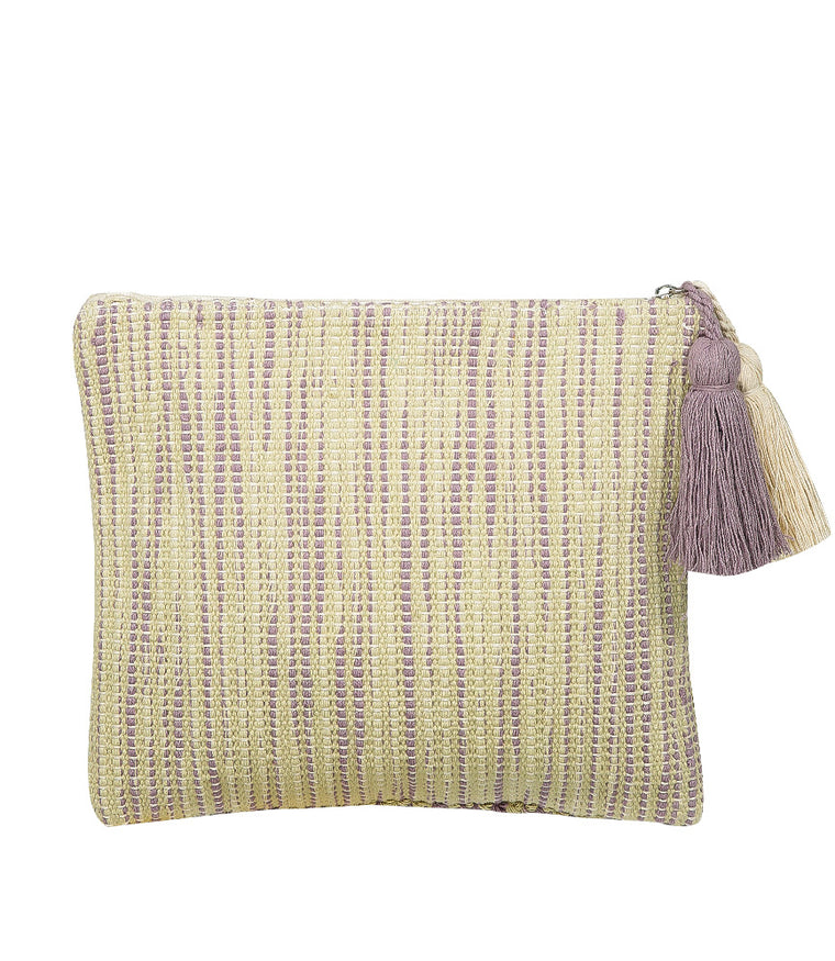 Hand Loom Cotton Beach Clutch Beige and Purple