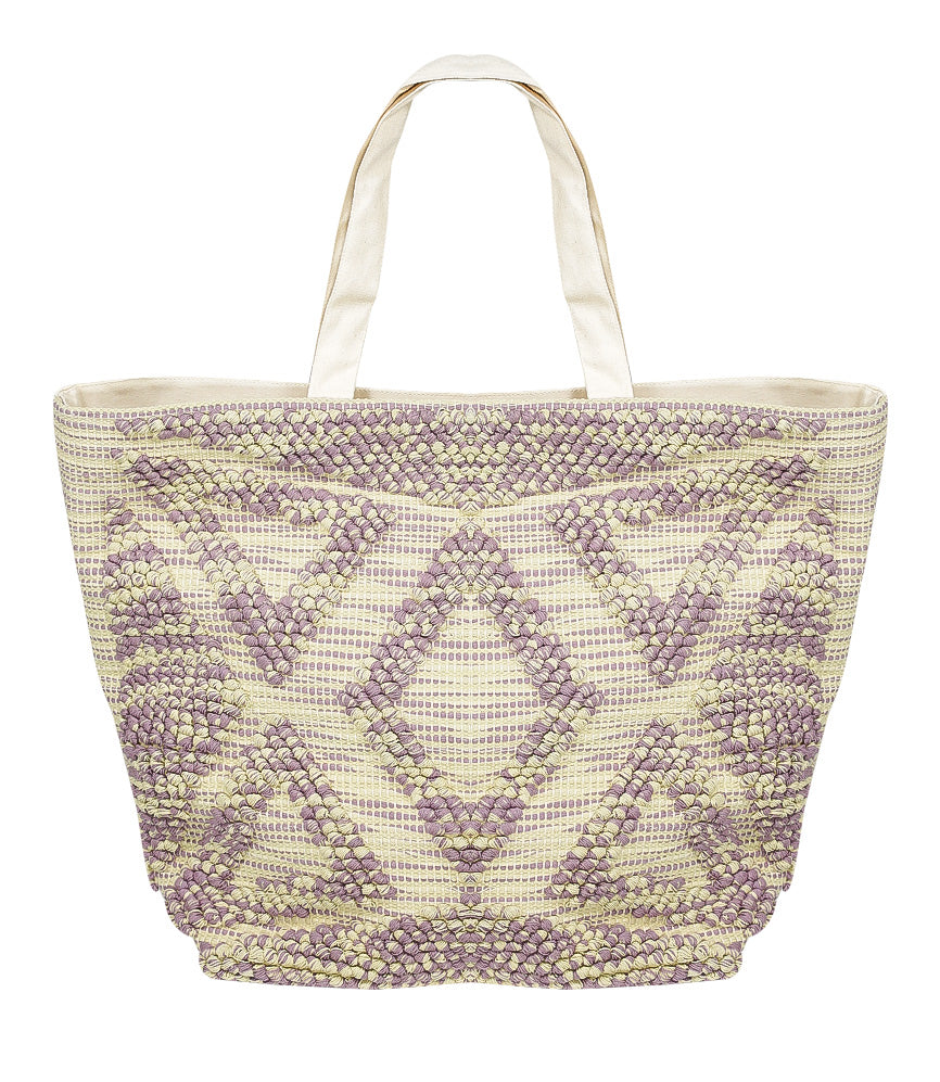 SD Select Large Cotton Tote Bag in Purple & Beige