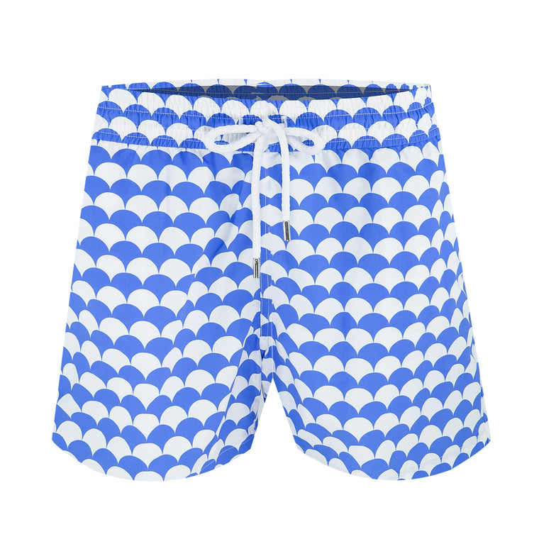Mens Designer Swimming Trunks in Blue and White