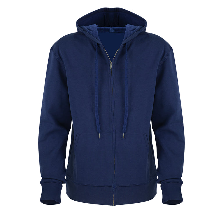 Mens Premium Zip Hoodie in Navy Blue