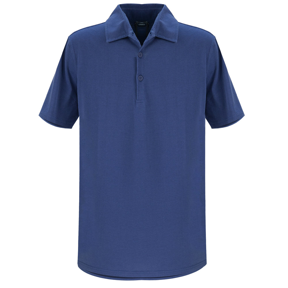 Cotton Polo Shirt in Navy Blue