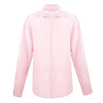 linen long sleeve shirt in light pink | mens long sleeve linen shirt