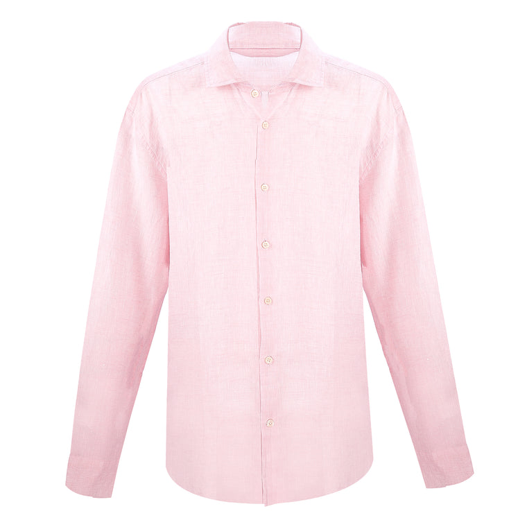 Linen Long Sleeve Shirt in Light Pink