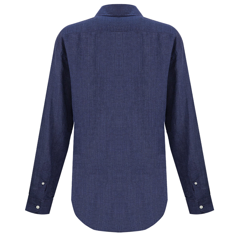 size guide for regular fit Mens Long Sleeve Linen Beach Shirt in Dark Blue