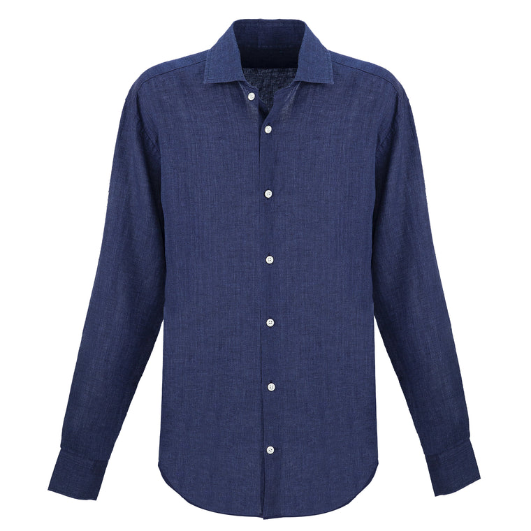 Mens Long Sleeve Linen Beach Shirt in Dark Blue