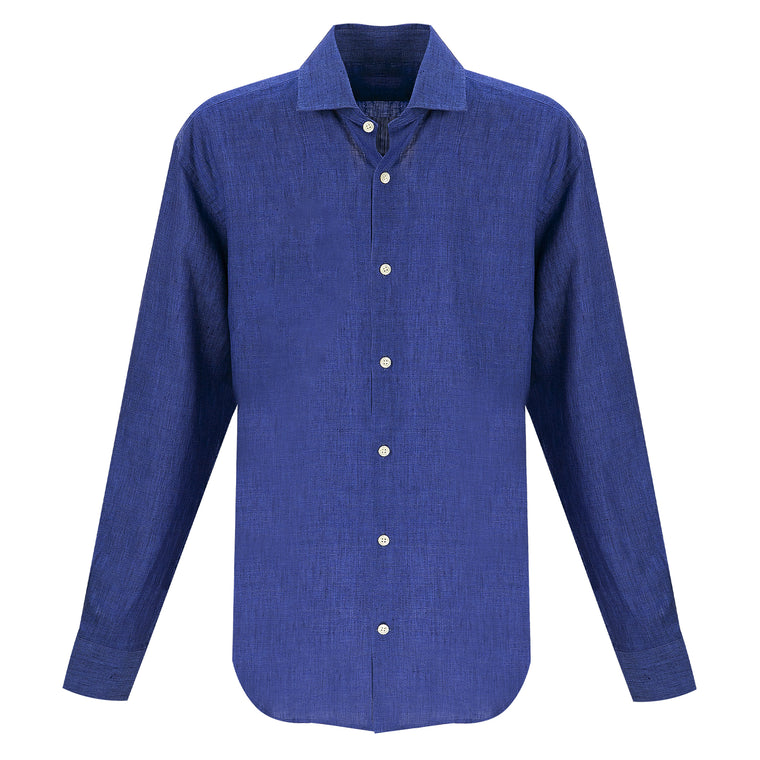 Premium Linen Shirt in Navy Blue