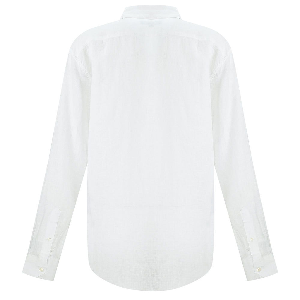 mens white linen button down shirt | white linen beach shirt
