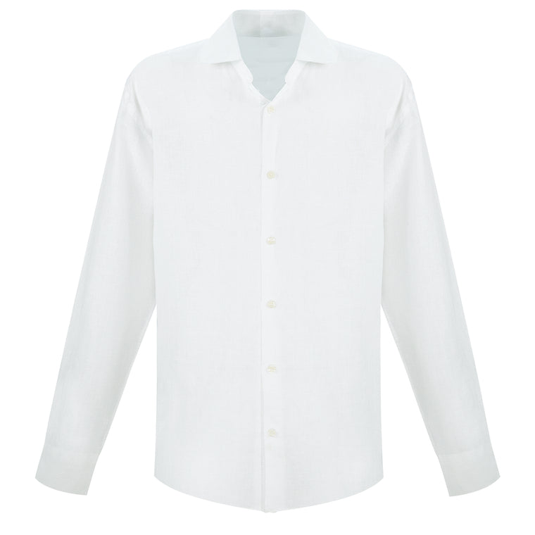 Mens White Linen Beach Shirt