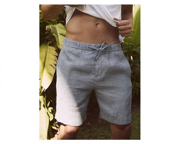 Mens Blue Linen Shorts Size Guide