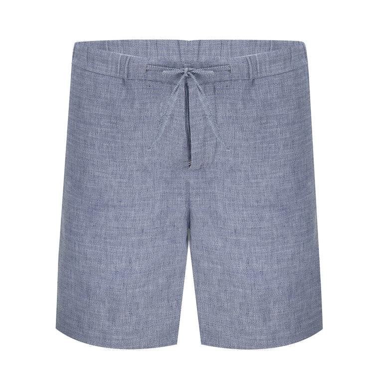 Mens Blue Linen Shorts