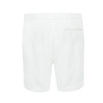 white linen beach shorts