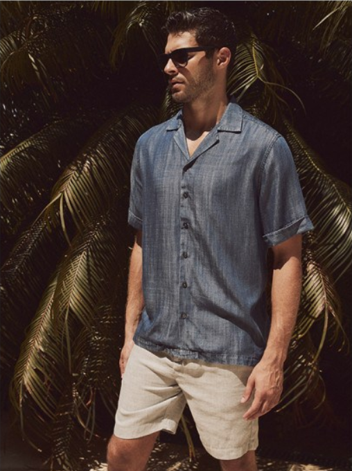 man wearing a blue tencel shirt