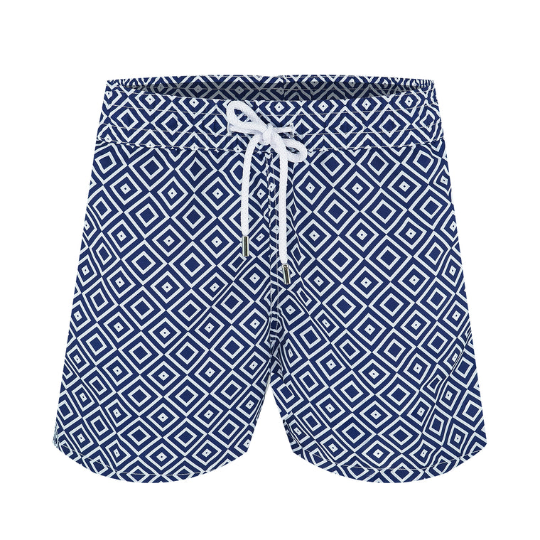 Geometric Swim Shorts in Navy Blue