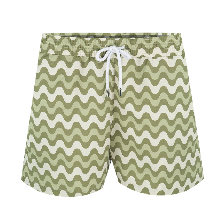 Mens Striped Swim Shorts in Green