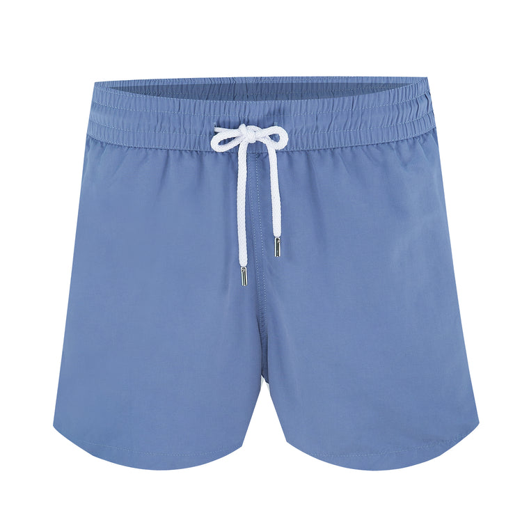 Mens Blue Swim Trunks with Short Inseam