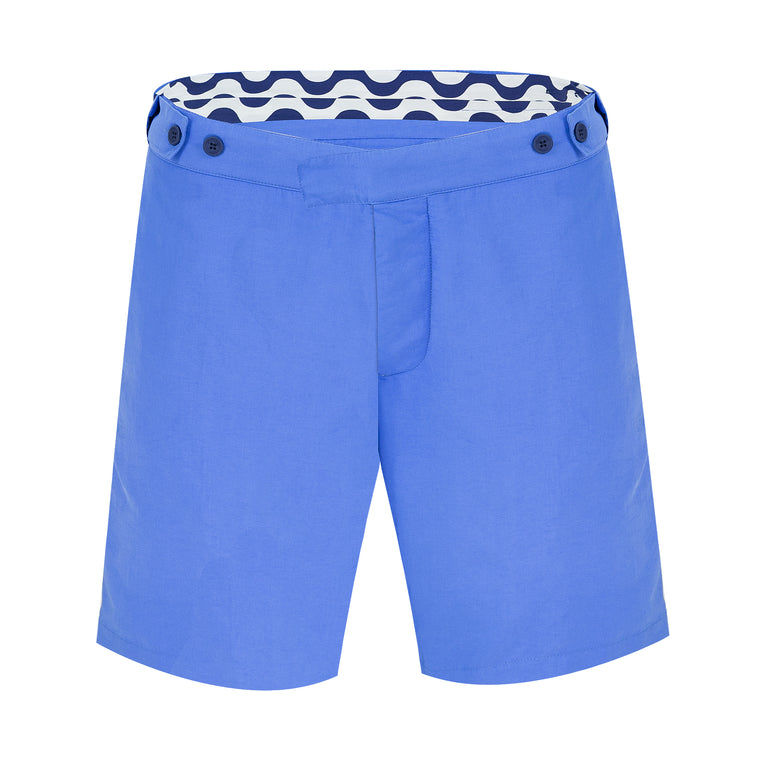 Mens Long Blue Tailored Swim Trunks