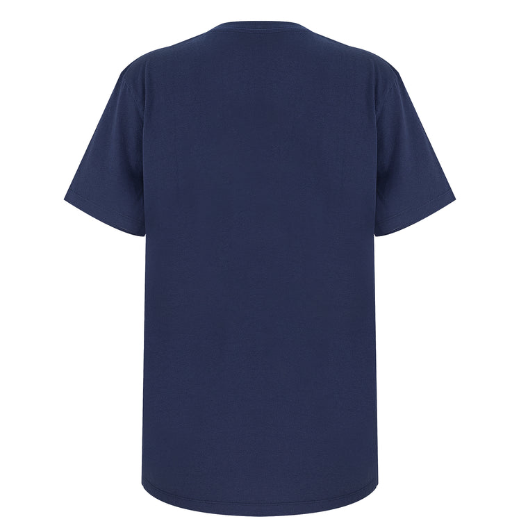 designer cotton t shirt  in navy blue