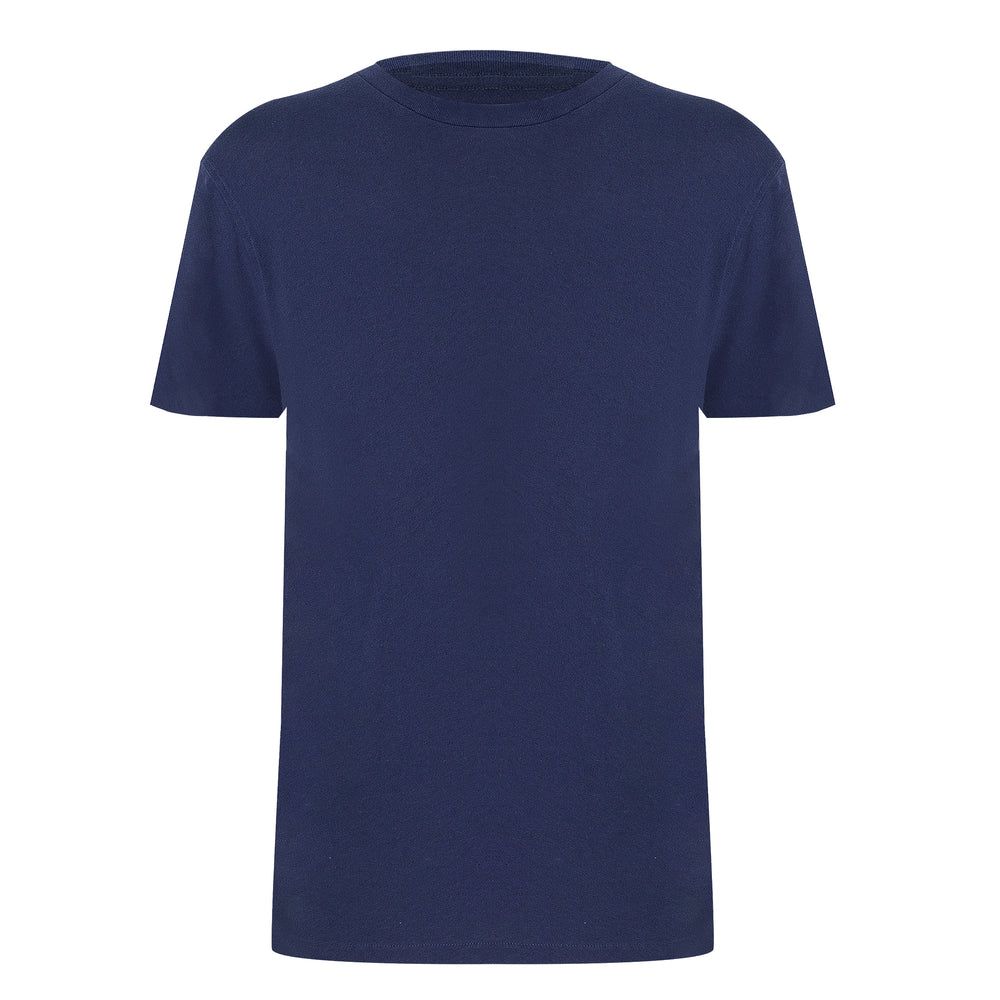 Mens Cotton Linen T Shirt in Navy Blue