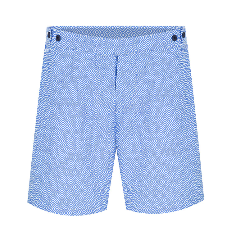 Mens Long Length Swim Shorts in Baby Blue