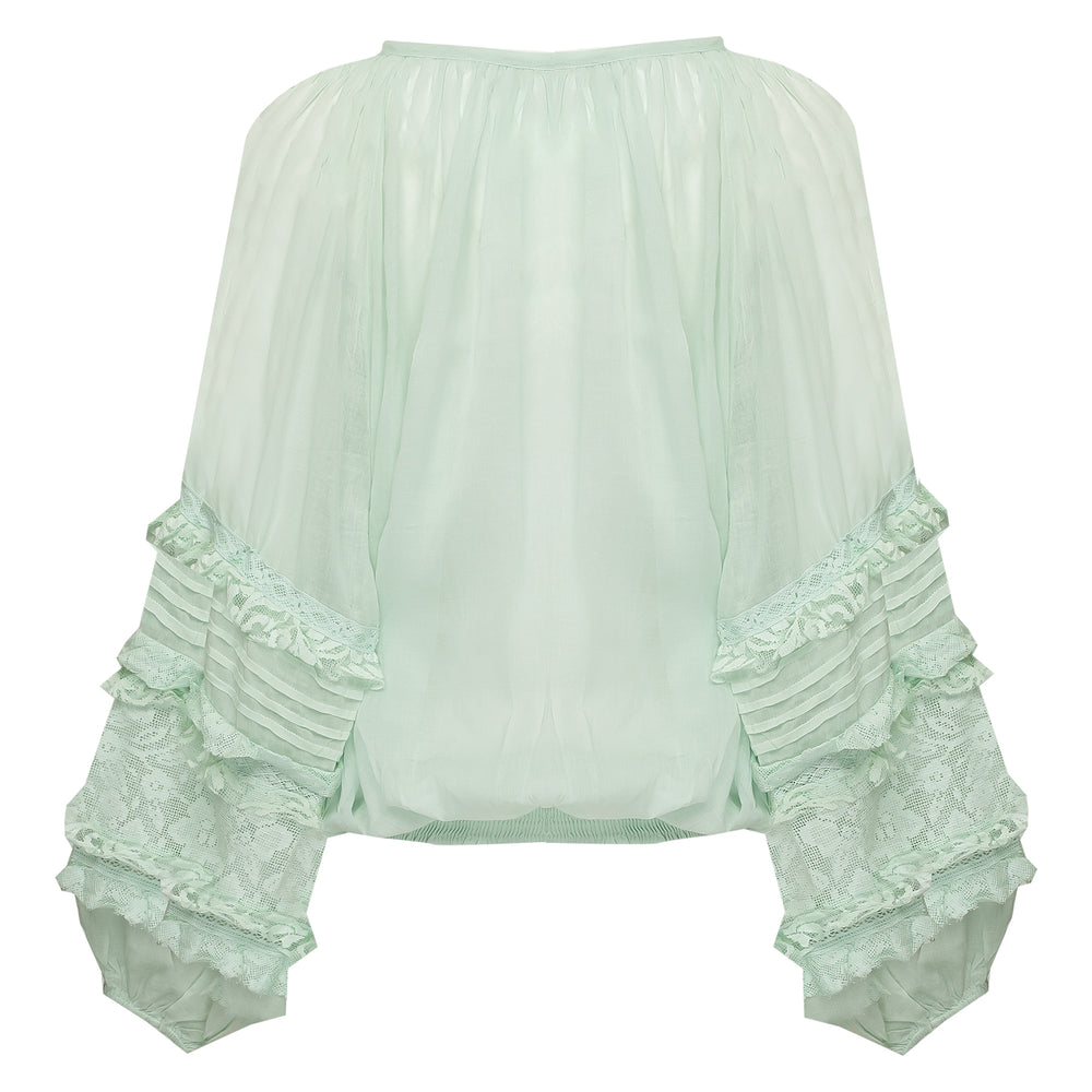 lace Blouson Top Mint/Silver