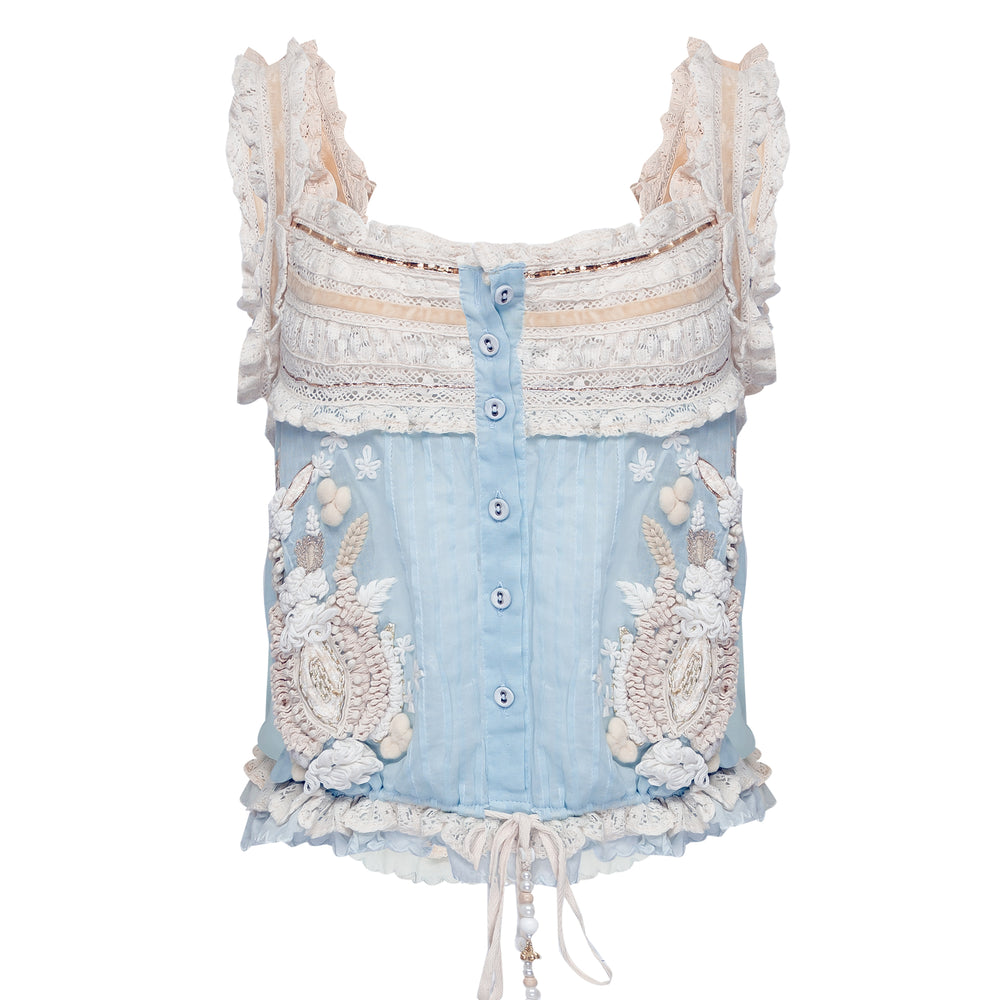 Sweety Strap Top Light Blue/Ecru