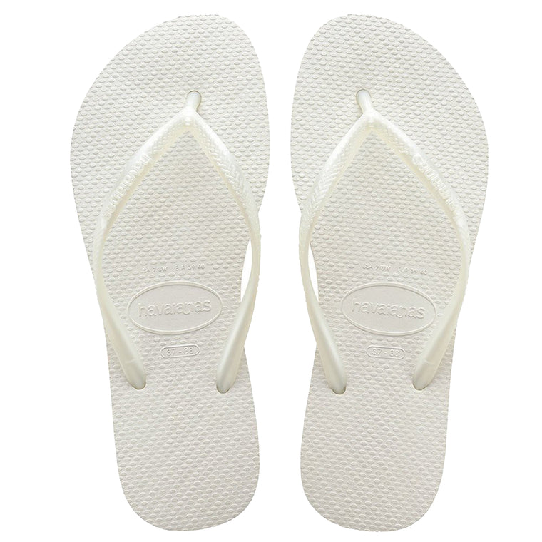 Womens Slim Flip Flops White