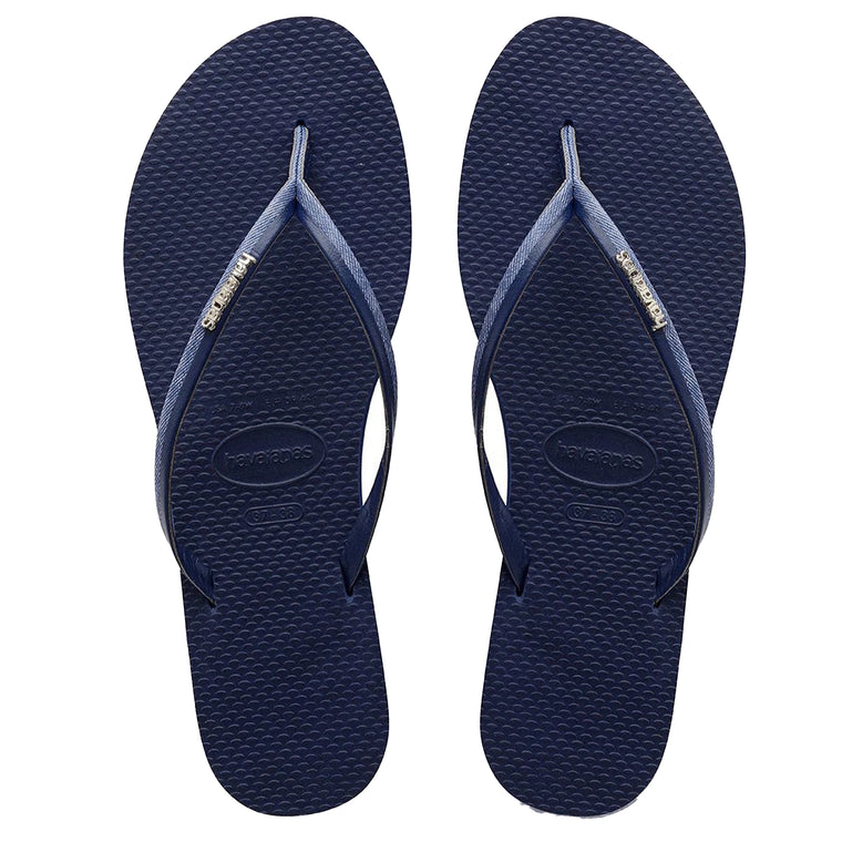 Womens You Jeans Flip Flops Navy Blue