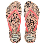 Womens Slim Animals Flip Flops White/Coral