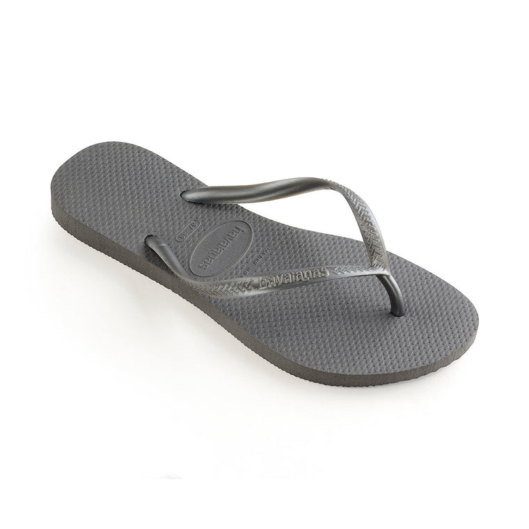 Womens Slim Flip Flops Steel Grey