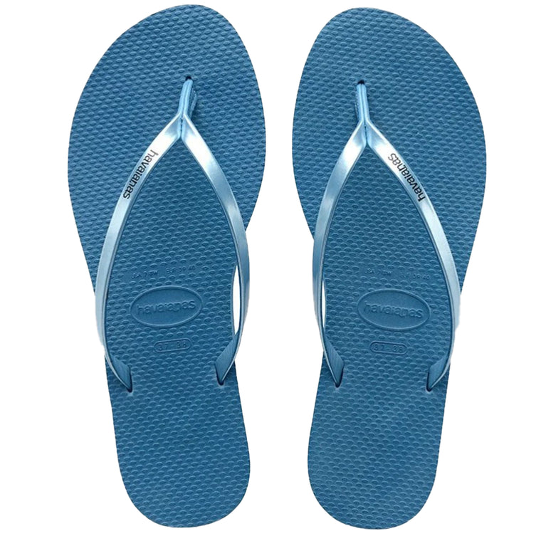 Womens You Metallic Flip Flops Blue