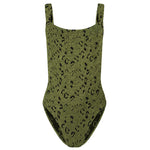 Classic Square Neck Swimsuit Metallic Moss Leopard