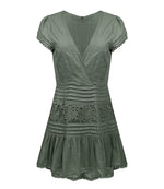 Lace And Pleats Cap Sleeve Skater Dress Olive