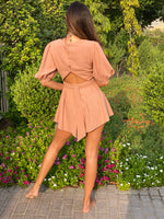 Puff Sleeve Faux Button Front Playsuit Tan