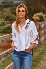Acantho White Embroidered Leba Top
