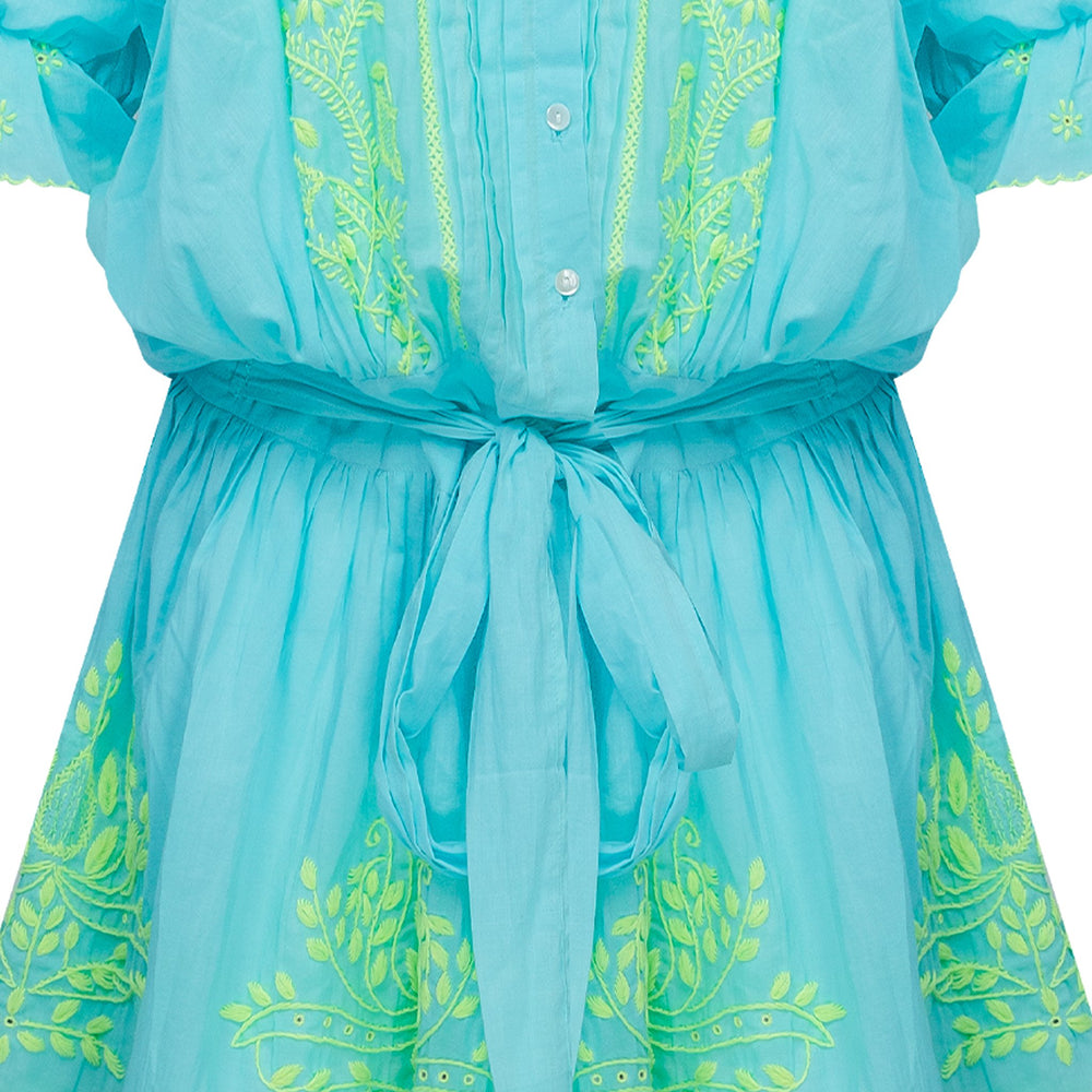 Blouson Dress With Lotus Embroidery Aqua/Neon Yellow