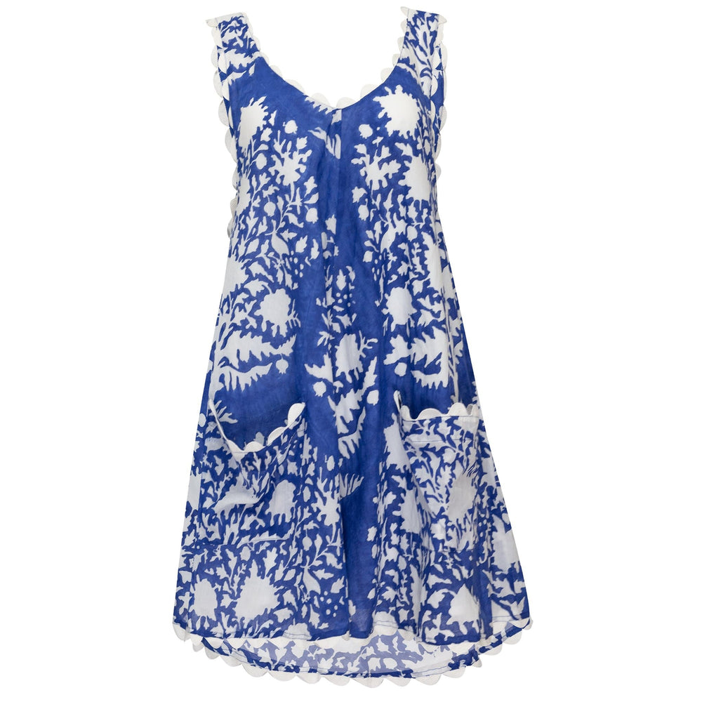 Low Back Dress in Palladio Block Print in Blue