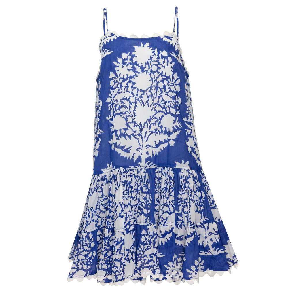 Strappy Dress in Palladio Block Print Blue