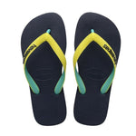 Kids Top Mix Flip Flops Navy/Neon Yellow