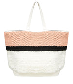 Large Beach Tote Bag with Designer Elements in Pink Black and White