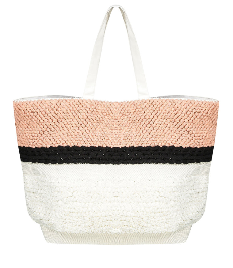 SD Select Large Beach Tote Bag with French Knots