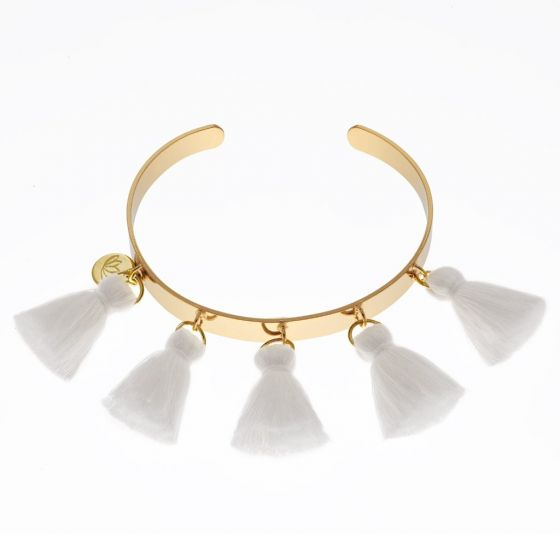 Luv & Bart White Tassel Bangle