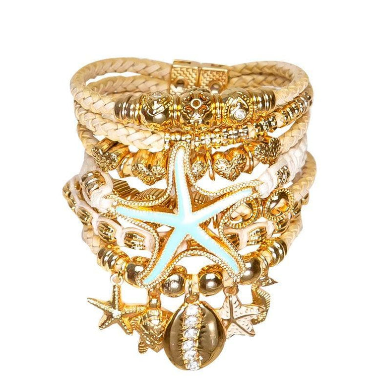 Gold Set Turquoise Starfish Bracelet