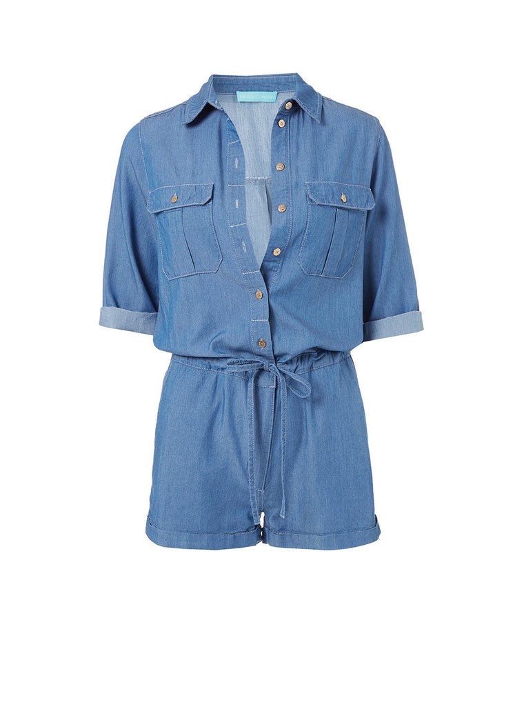 Melissa Odabash Honour Blue Denim Playsuit