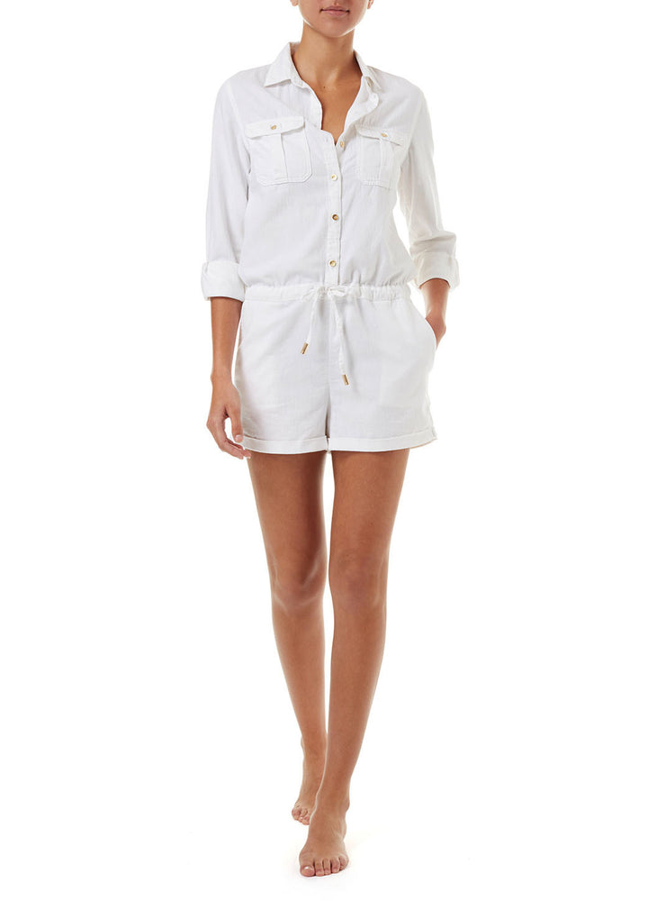 Melissa Odabash Honour White Denim Playsuit