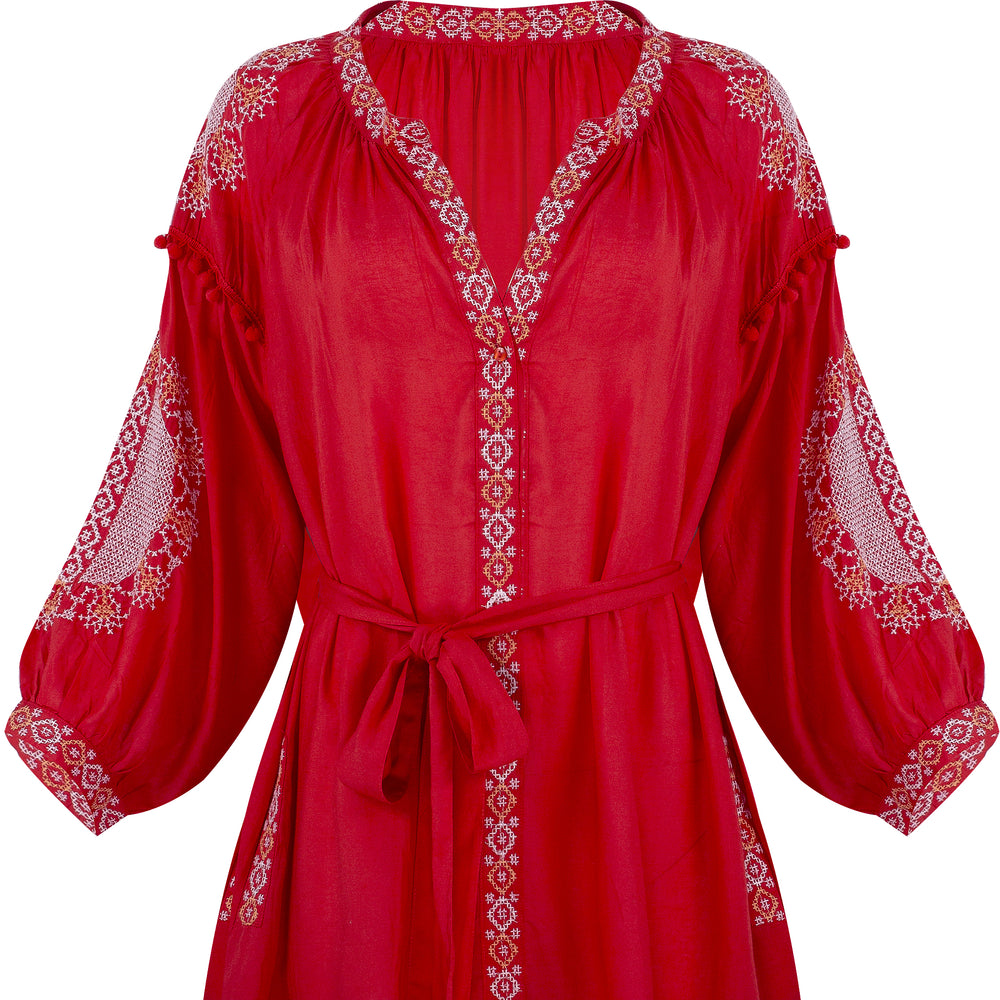 Katya Short Kaftan Red/White