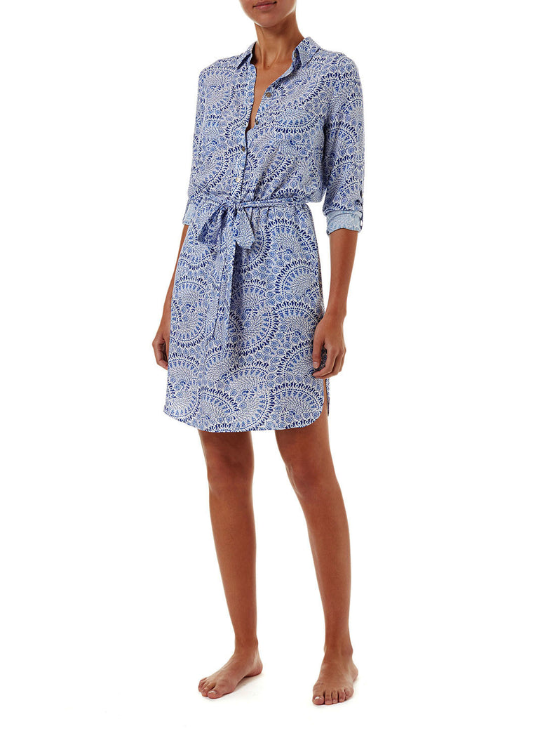 Melissa Odabash Lois Capri Button-Down Belted Shirt Dress