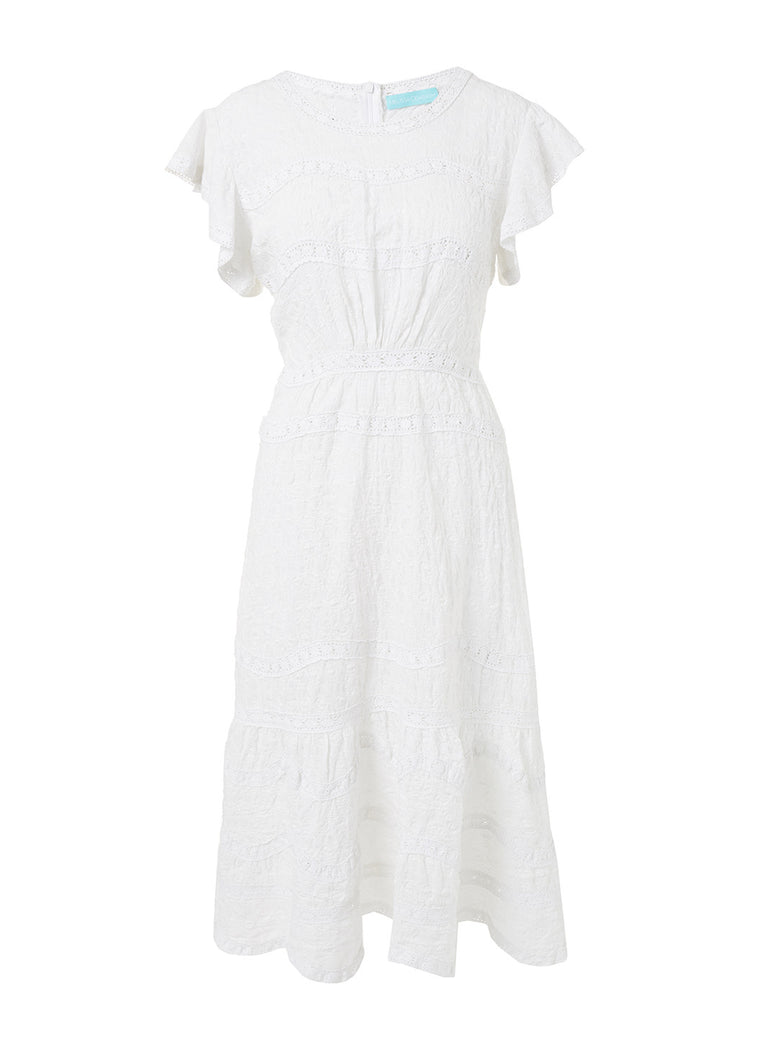 Melissa Odabash Louisa White High Neck Midi Tea Dress