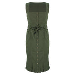 Ruby Fitted Denim Dress Olive