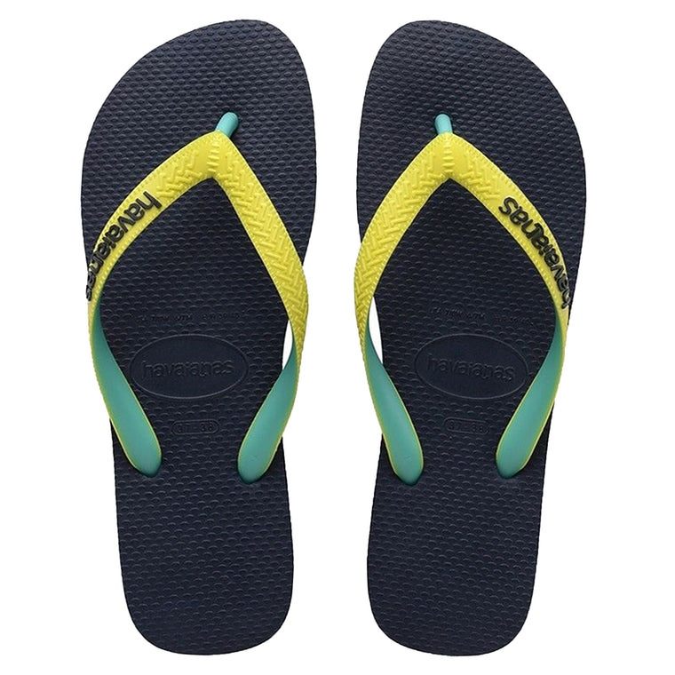 Mens Top Mix Flip Flops Navy/Neon Yellow