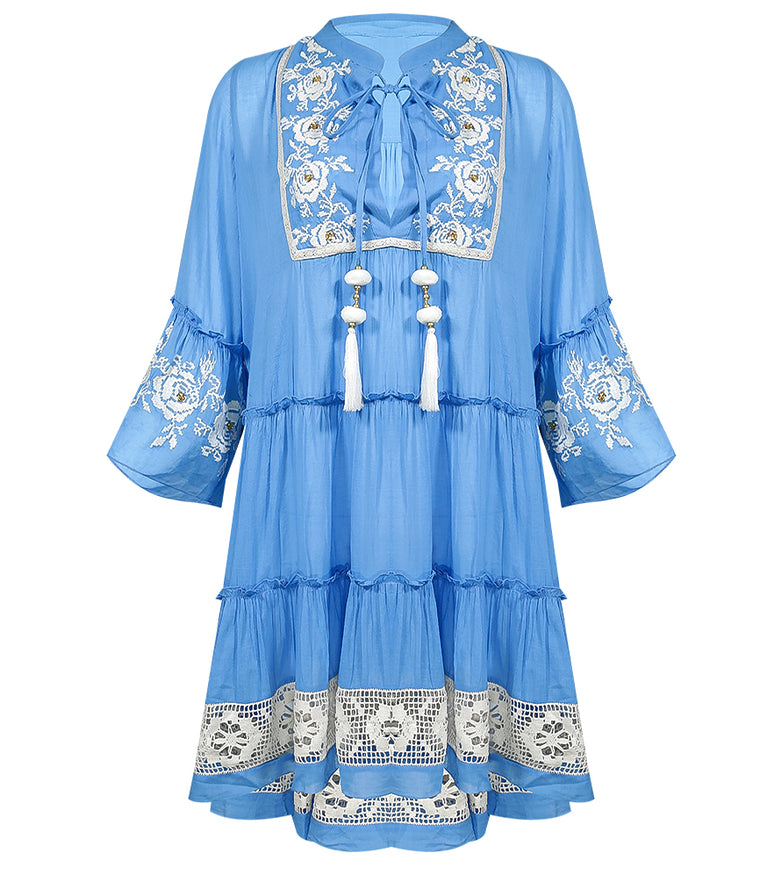 Miss June Blue Embroidered Beach Dress